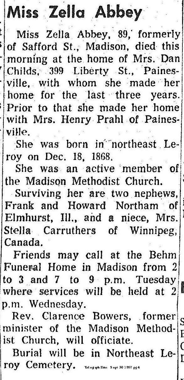 Abbey, Zella Obituary , Abbey, Zella Obituary(Telegraph 9/30/1957)
