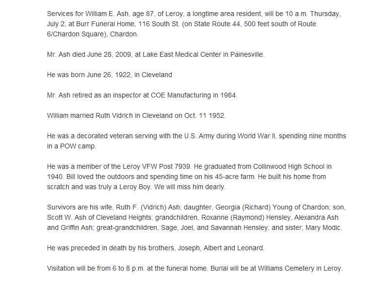 Ash, William Obituary, Ash, William Obituary (News-Herald 06/30/2009)