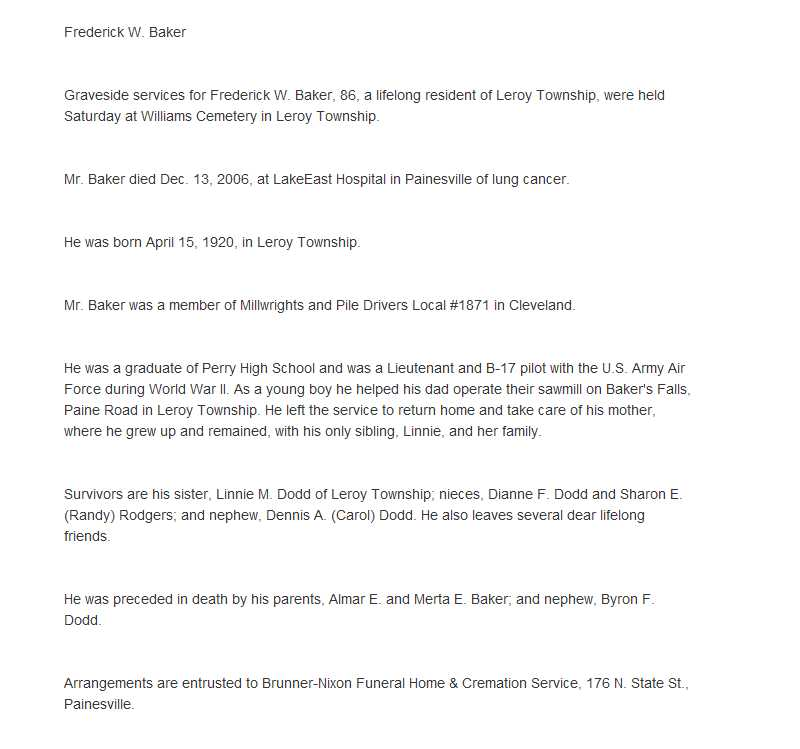 Baker, Frederick Obituary, Baker, Frederick Obituary (News-Herald 12/17/2006)