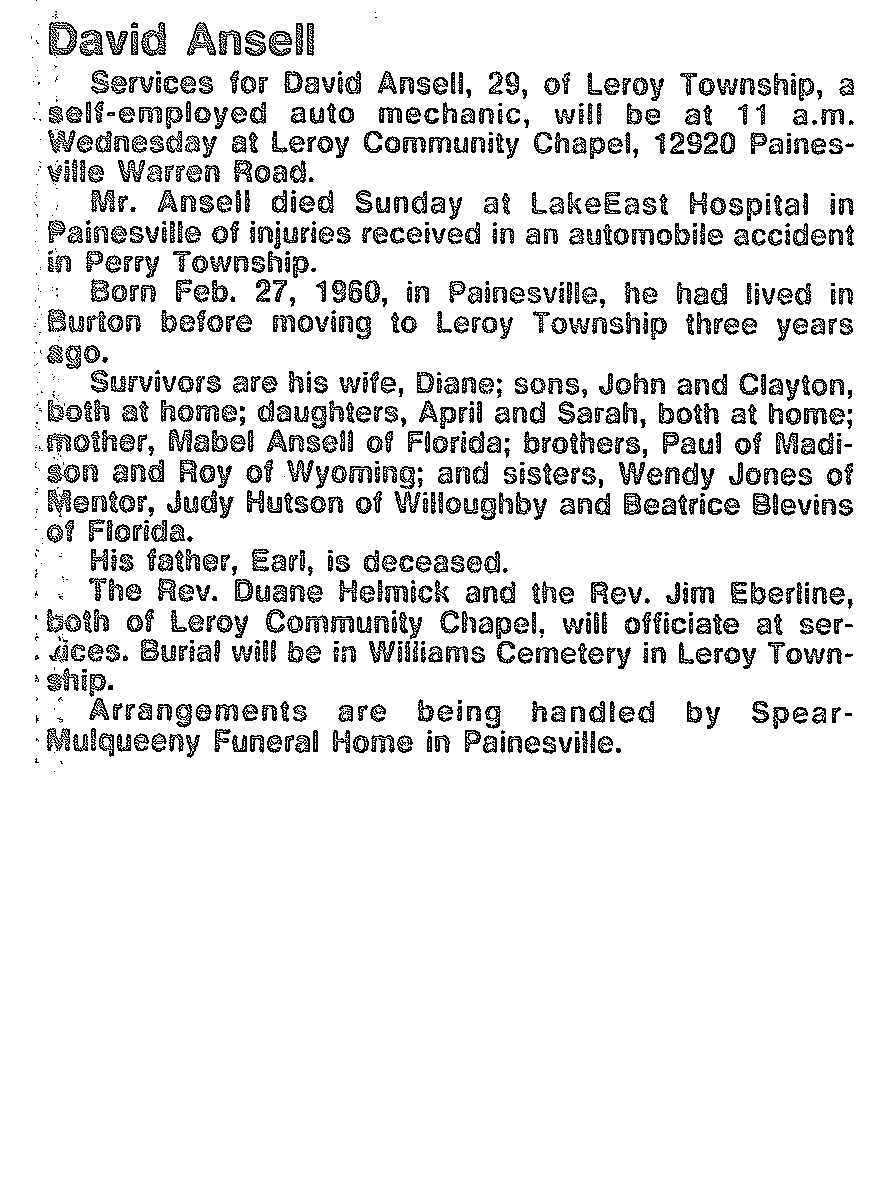 David Ansell Obituary, David Ansell Obituary (News-Herald 02/06/1990)