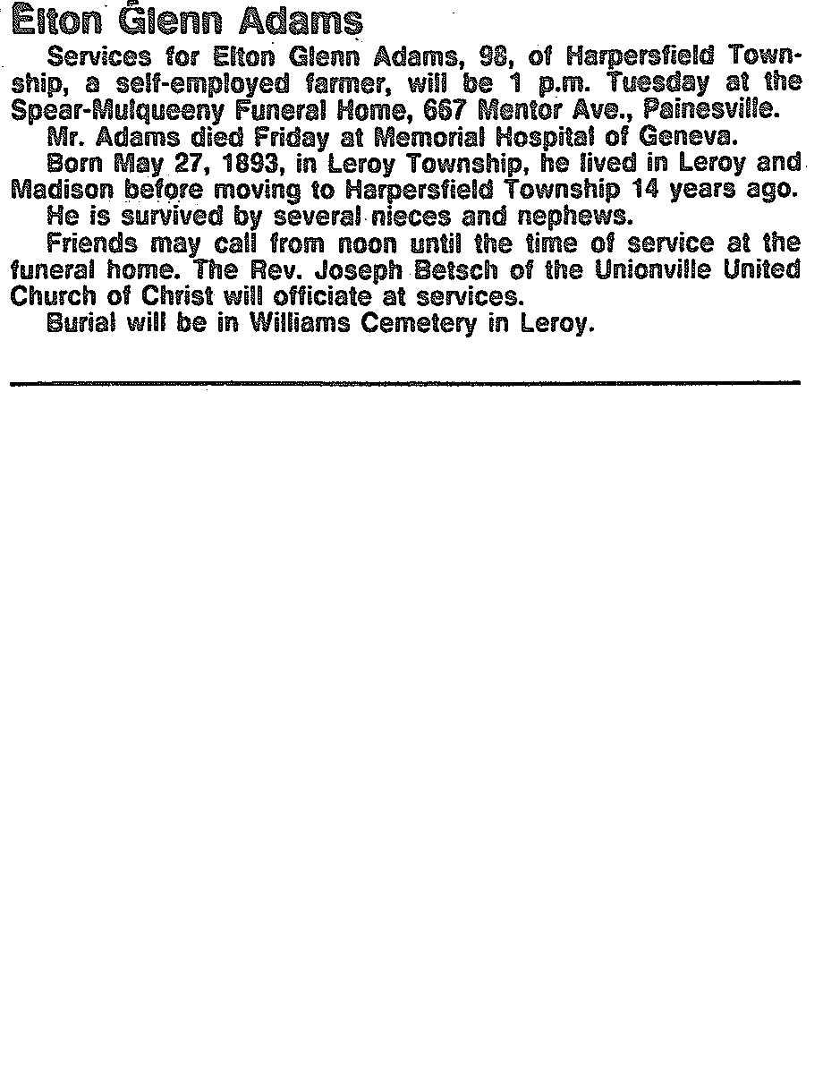 Elton Adams Obituary, Elton Adams Obituary (News-Herald 06/30/1991)