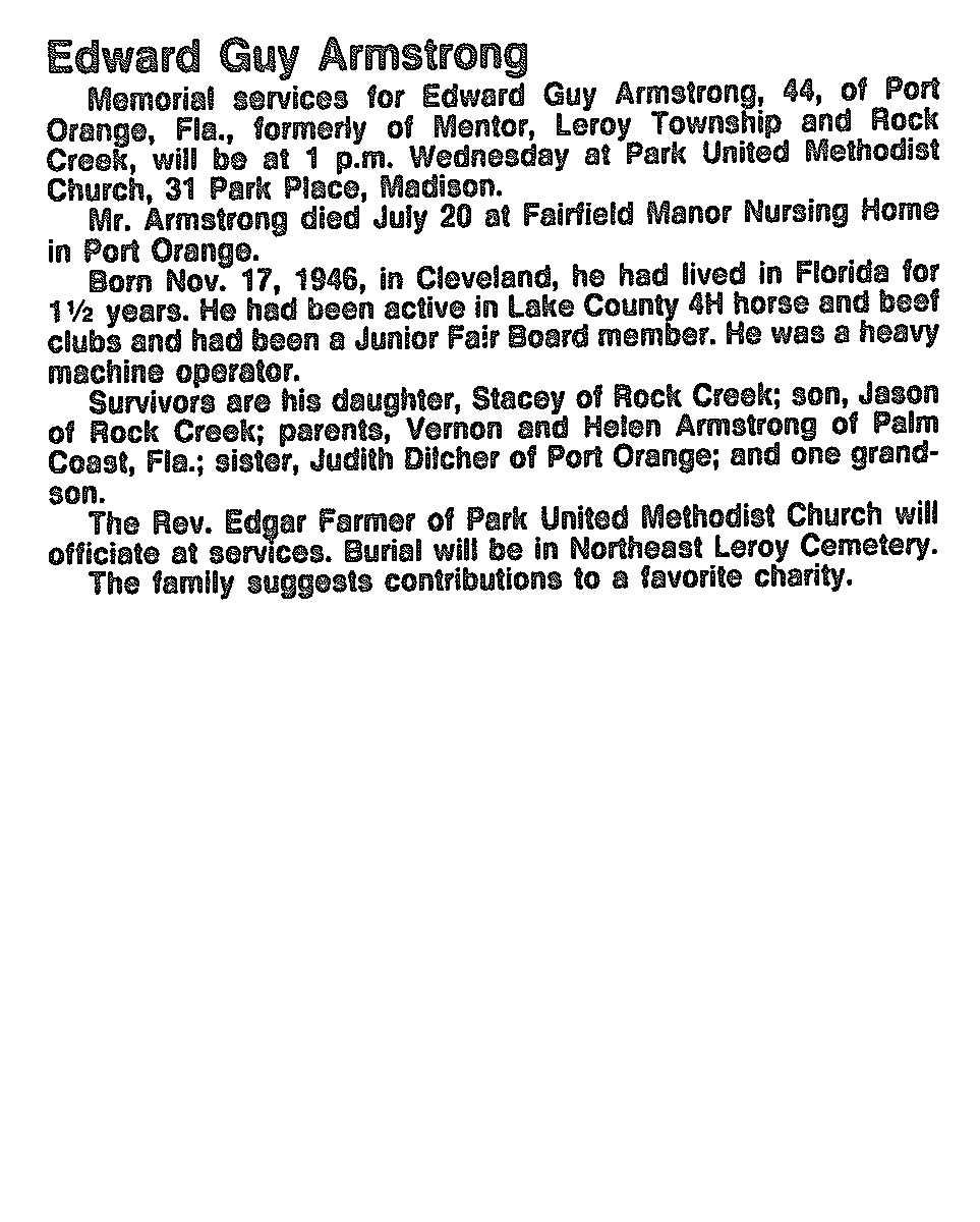 Armstrong, Edward Obituary, Armstrong, Edward Obituary (News-Herald 08/03/1991)