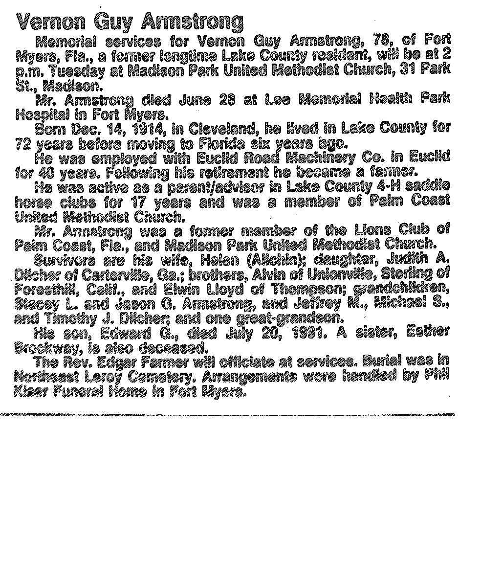 Armstrong, Vernon Obituary, Armstrong, Vernon Obituary (News-Herald 07/09/1993)