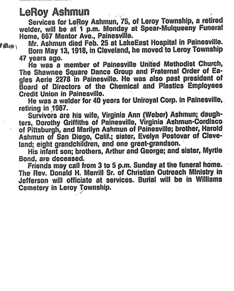 Ashmun, Leroy Obituary, Ashmun, Leroy Obituary (News-Herald 02/26/1994)