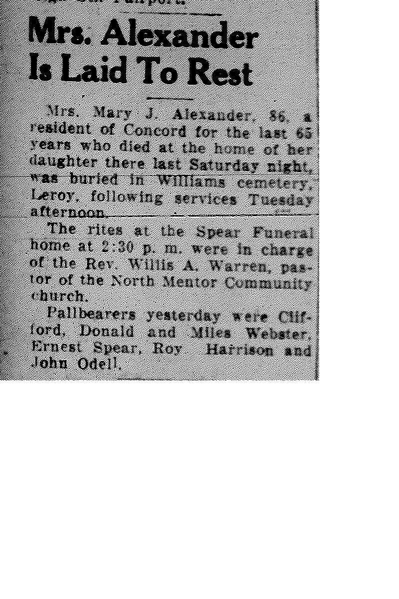 Alexander, Mary Obituary, Alexander, Mary Obituary (Telegraph 11/25/1940)