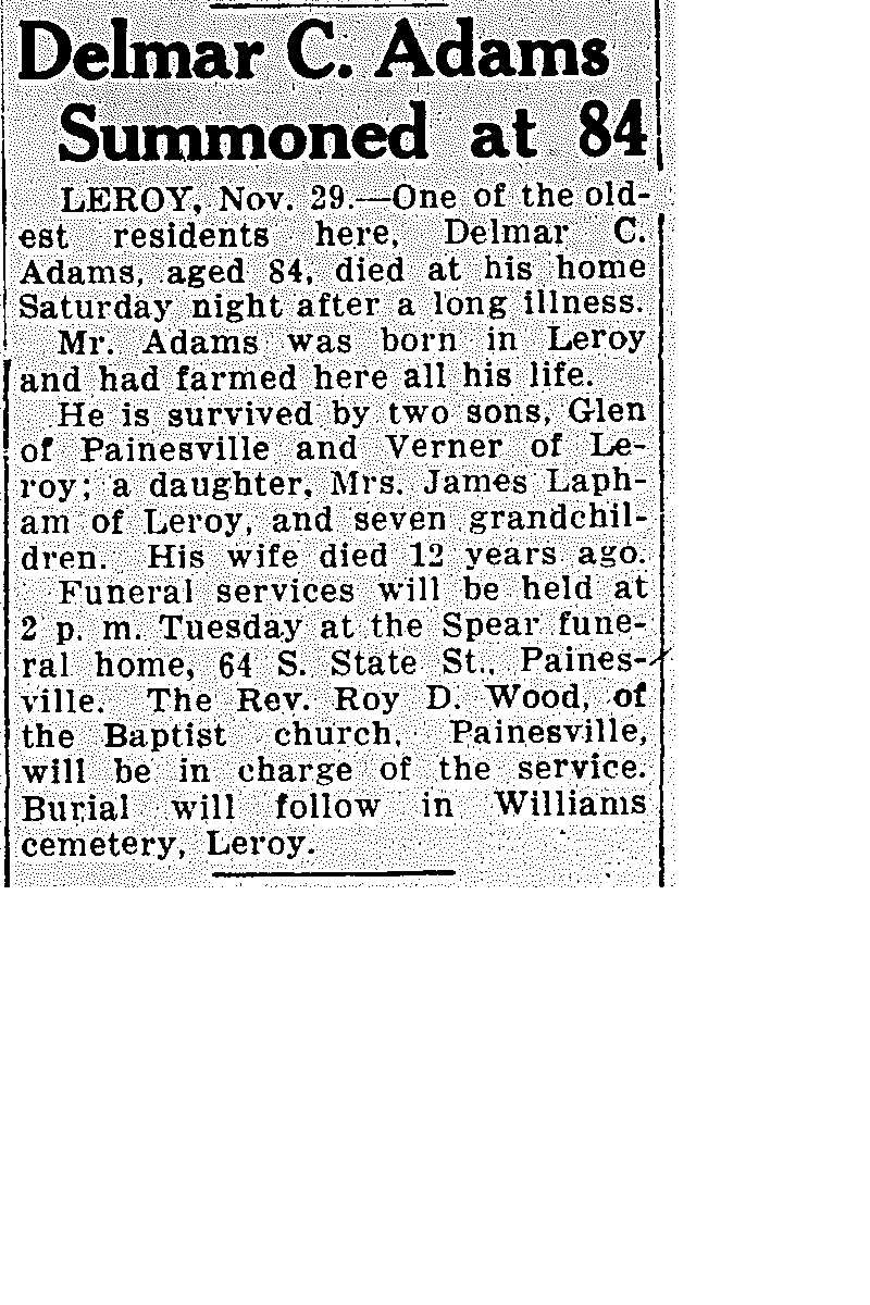 Adams, Delmar Obituary, Adams, Delmar Obituary (Telegraph 11/29/1937)