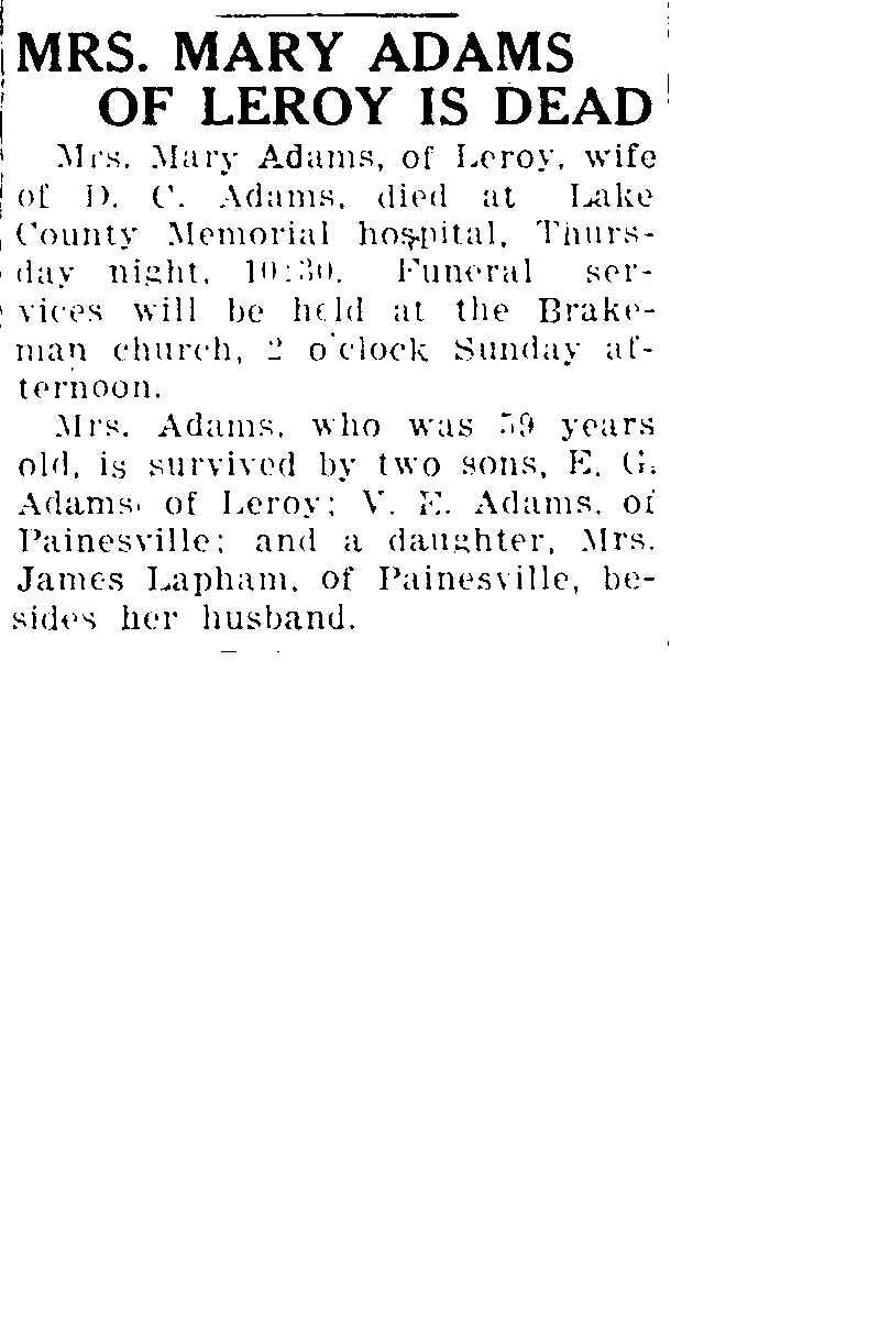 Adams, Mary Obituary, Adams, Mary Obituary (Telegraph 04/17/1925)