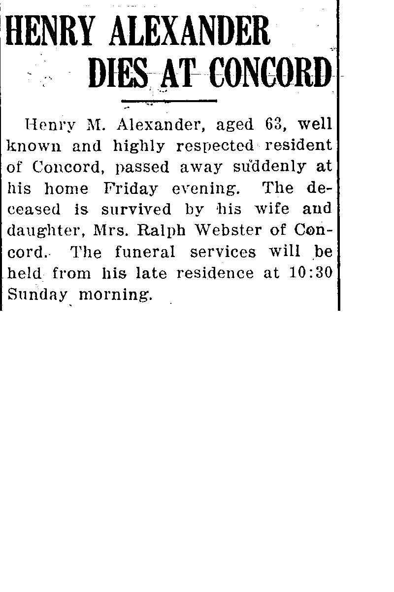 Alexander, Henry Obituary, Alexander, Henry Obituary (Telegraph 01/10/1914)