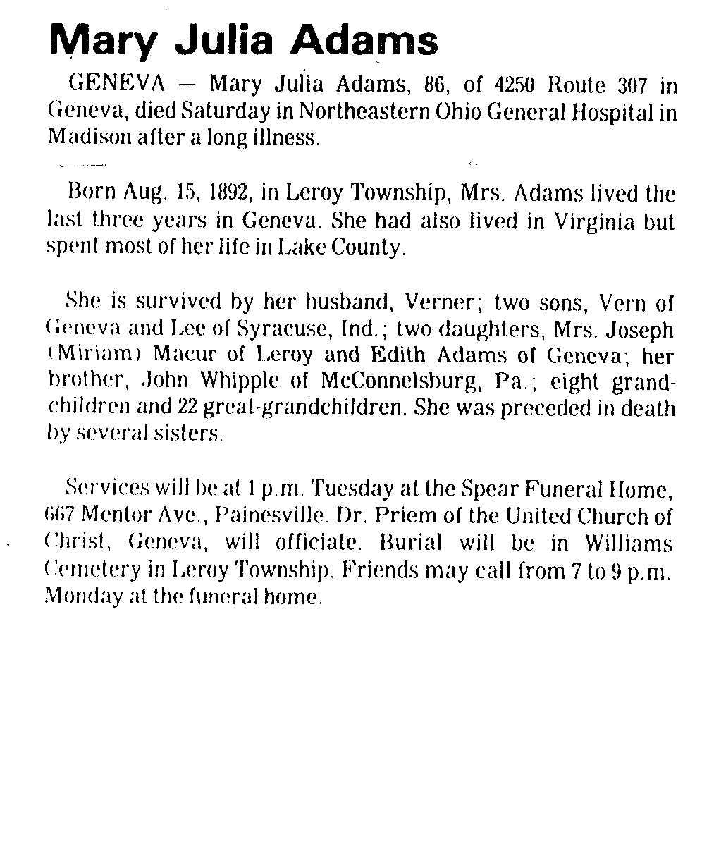 Adams, Mary Obituary, Adams, Mary Obituary (Telegraph 03/18/1979)