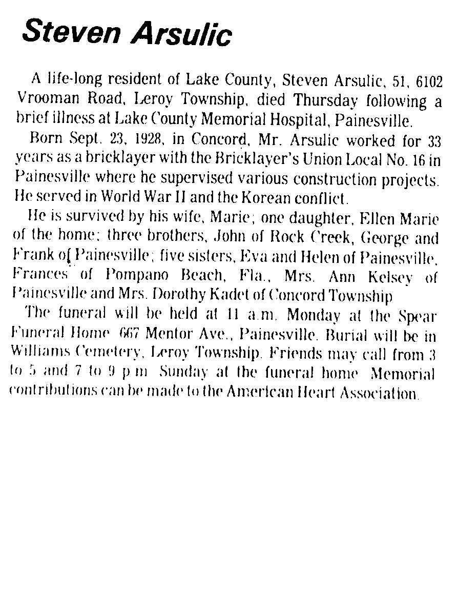 Arsulic, Steve Obituary, Arsulic, Steve Obituary (Telegraph 08/23/1980)