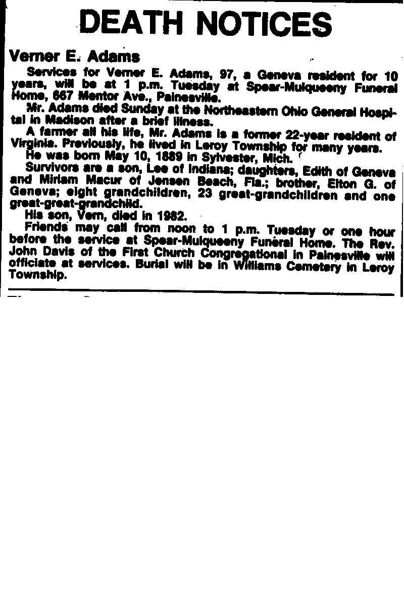 Adams, Verner Obituary, Adams, Verner Obituary (News-Herald 07/21/1986)
