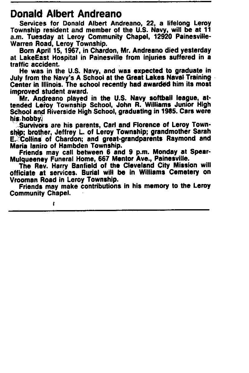 Andreano, Donald Obituary, Andreano, Donald Obituary (News-Herald 05/21/1989)