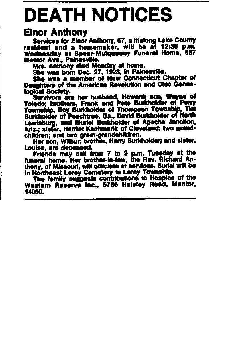 Anthony, Elnor Obituary, Anthony, Elnor Obituary (News-Herald 09/17/1991)