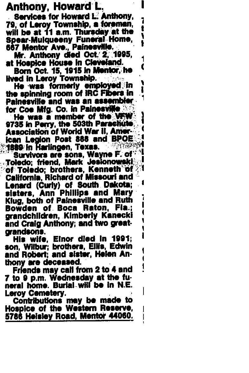 Anthony, Howard Obituary, Anthony, Howard Obituary (News-Herald 10/03/1995)