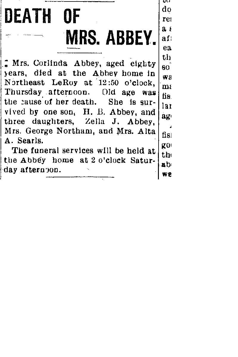 Abbey, Cleonda Obituary, Abbey, Cleonda Obituary (Telegraph 08/17/1906)